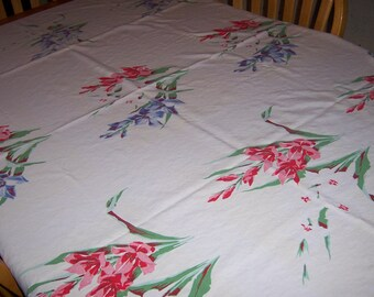 Vintage Wilendure Gladiola and flowers tablecloth