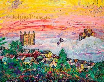 Pittsburgh skyline, South Side Slopes, art by Johno Prascak, steel city art
