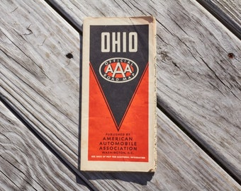 Vintage Ohio Official AAA road map from 1938 American Automobile Association