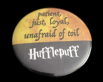 Button Hufflepuff Harry Potter Hogwarts House Motto Traits Just Loyal Unafraid!