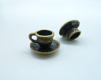 30pcs 9x15mm Antique Bronze 3D Smaller Coffee Cup Charm Pendant c1521