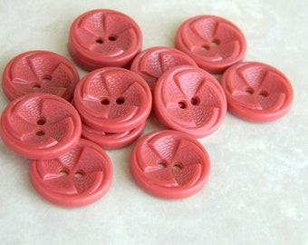 """12 Vintage Buttons 1930's or 40's Pink Plastic Pinwheel Buttons- 3/4"""" -VPK15"""