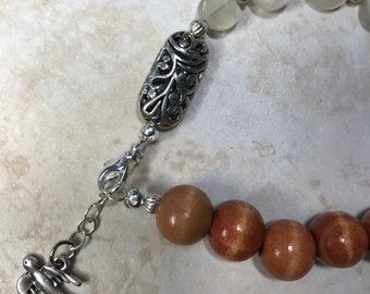 Boho Moonstone Wood Beaded Bracelet Bird Charm Nature Lover Outdoor Summer Jewelry Gift for her