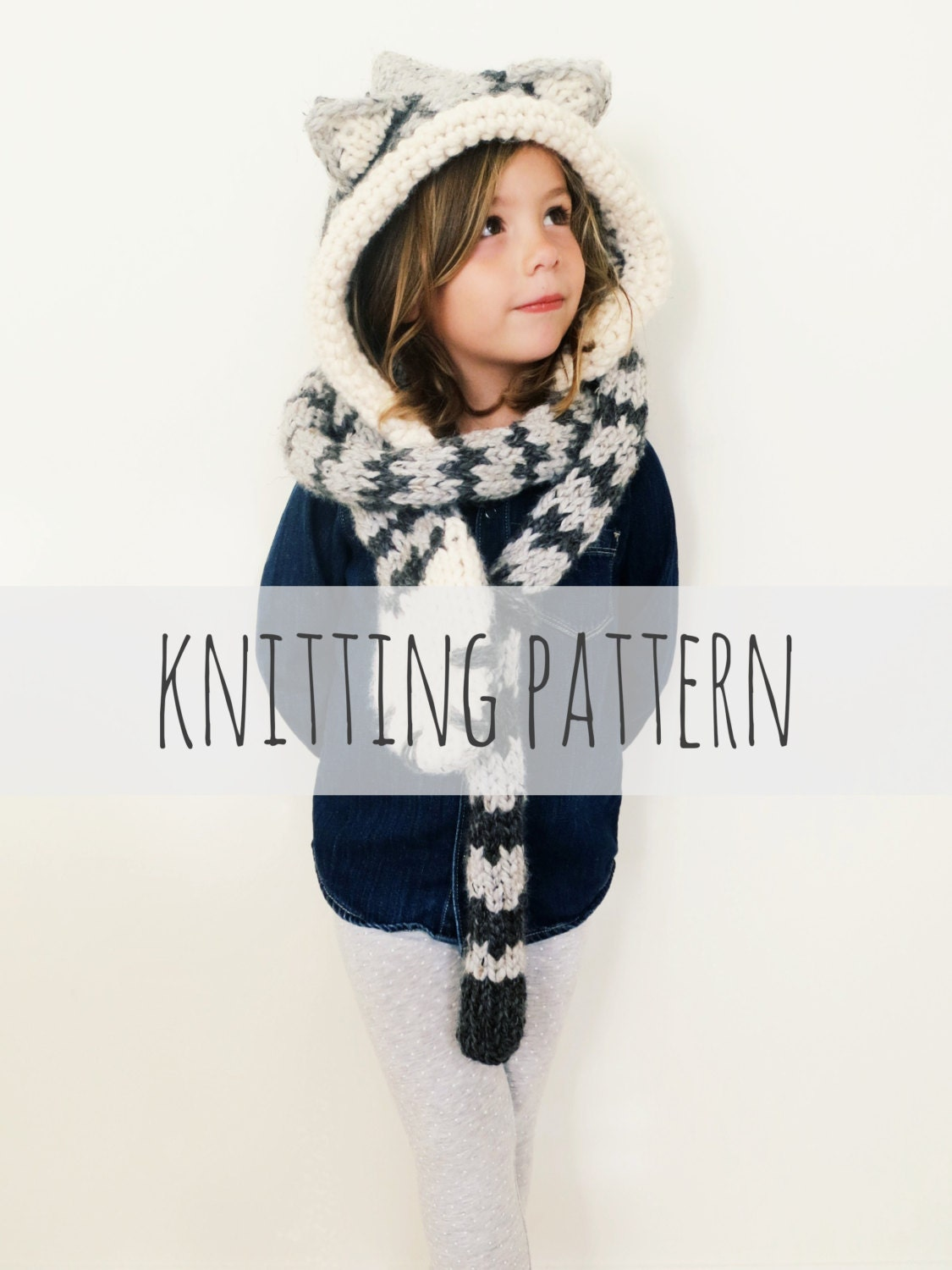 PATTERN for Cat Kitten Hat Hood Cowl Scarf Knit Toddler Child