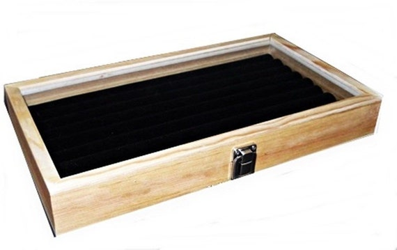 1 Key Lock Locking Natural Wood Glass Top Black 8 Row Ring Jewelry