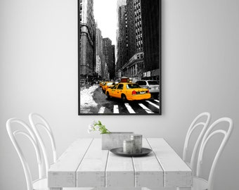 New York Yellow Taxi Printable Poster, Fine Art Photography Print, Urban art Wall Decoration