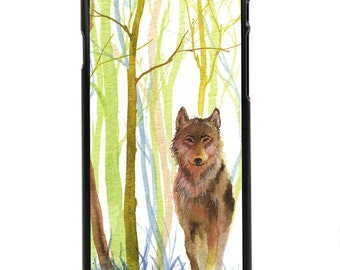 "Phone Case ""Solitaire"" - Wolf, Wilderness, Lonely, Alpha, Dangerous, Cold, Hunting, Watercolor Art Painting By Olga Cuttell"
