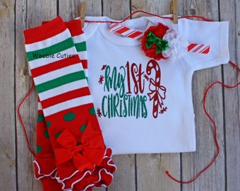 Baby Girl Christmas Outfit, Baby's First Christmas, Baby Girl Christmas Dress, Baby's 1st Christmas, Baby Girl Clothes, Christmas Baby Girl