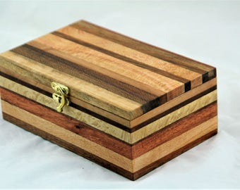 Striped Australian timbers handcrafted wooden box