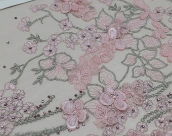 Pink lace fabric, beaded luxury 3D lace fabric, light baby pink color hand beaded high quality lace fabric by the yard lace to love LUX9126