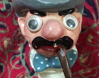 Vintage Bottle stopper-Made in England.  Old Man reminds me of Groucho Marx  1950s