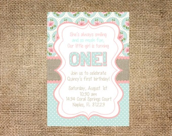 Vintage Birthday Invitation, personalized and printable