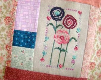 Hearts Lollipop Flowers Cross Stitch PDF Pattern
