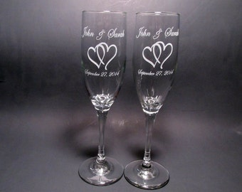 Personalized Wedding Champagne Flutes - Set of 2