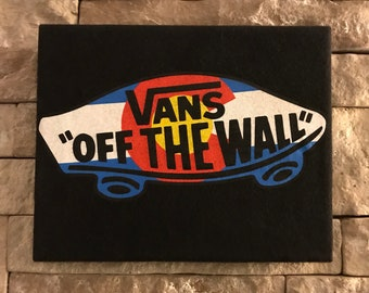 "Vans ""Off The Wall"" Colorado Flag Handmade Cloth Canvas Screen Print Wall Decor"