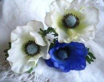 Set of 3 beautiful anemones in fabric