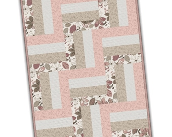 Pearl Essence - Rail Fence Quilt Kit - Precut Kits -  Maywood Studio - PODS - Neutral (pink, beige/taupe, white/cream)