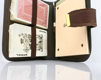 Vintage Vinyl Pouch Playing Card Game / Holder, Travel Game, Playing Card Holder, Bridge Cards, Score Pad, Card Caddy, Decks of Cards