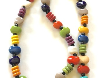 Kazuri Magnetic Necklace - 19 inches - with Howlite - primary colors - opaque - Fair Trade certified beads