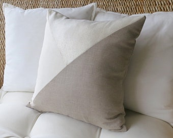 Linen Colorblock Pillow Cover, 18 x 18 inch, 20 x 20 inch, 22 x 22 inch,  Modern Pillow Cover, Geometric, Ivory, Natural Linen, Shimmer