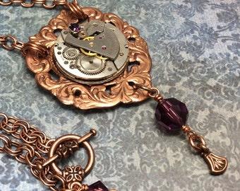 Steampunk handmade necklace vintage watch on copper filigree heart- Mechanical Romance -