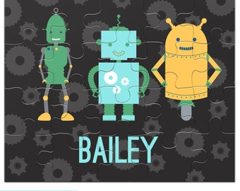 Robot Puzzle - Personalized Puzzle for Kids - Colorful Robots Puzzle with Child's Name - 20 pieces - 8 x 10 inches - Jigsaw Puzzle
