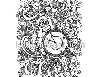 instant digital download - adult coloring page - time keeper inspired