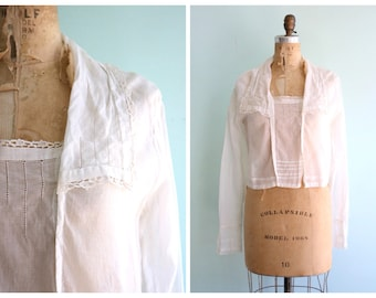 Vintage 1910's Sheer White Edwardian Cotton Blouse | Size Medium