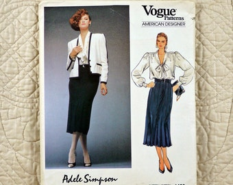 Jacket Skirt Blouse, M, Vogue 1483 Pattern, Adele Simpson, Lined, Flared, Side Zipper, Tied Collar, 1984 Uncut, Size 14