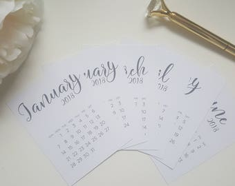 Journal cards for personal or A5 12 calendar 2018
