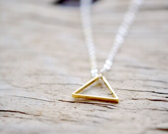 Triangle Necklace - Geometric Triangle Shape Jewelry - Brass and Silver - Simple Modern Minimalist Jewelry