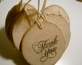 12 Rustic Wooden Thank You Hang Tags Fancy Ornate Script On Natural Wood Grain Round Thank You Labels