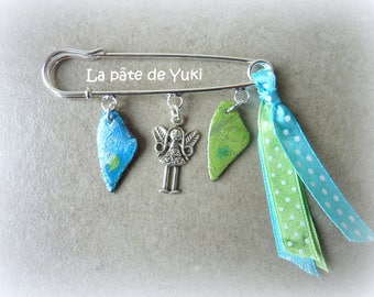 Silver Blue Green pin hand made polymer clay