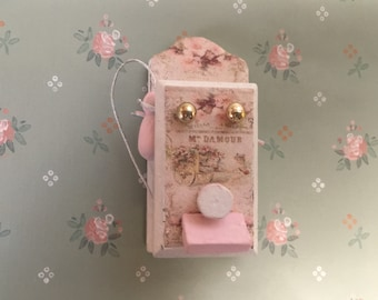 Shabby chic dollhouse wall phone  - free shipping to the US