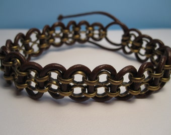 Leather Bracelet, Leather Chain Bracelet, Woven Leather Chain Bracelet, Wrap Bracelet, Leather Cuff, Brown, Chain, BoHo, Beach, Adjustable