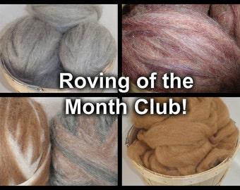 Spinning Fiber - Roving Club, Fiber Club - Alpaca Roving, Wool Roving, Spinning, Roving, Merino Roving - 4 oz., 3 Month Subscription