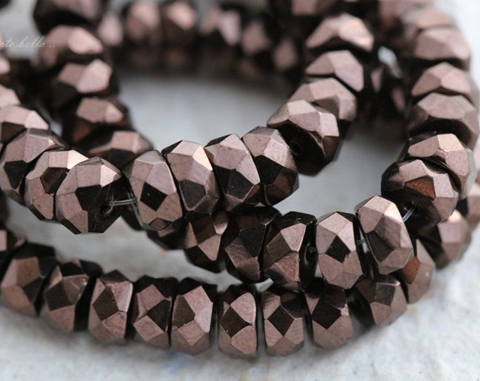 sale .. BRONZE WHEELS .. 30 Premium Czech Flat Rondelle Glass Beads 6x3mm (5579-30)