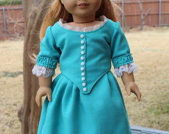 "18"" Doll Clothes Historical Colonial Style Dress Fits American Girl Felicity, Elizabeth, Caroline"