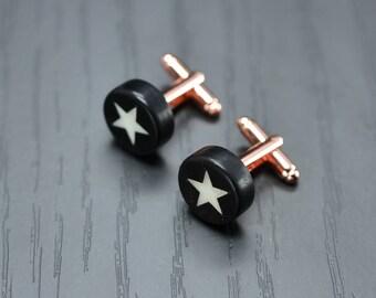Precious STAR cufflinks - Handmade ebony and bone inlaid men cufflinks - gift idea