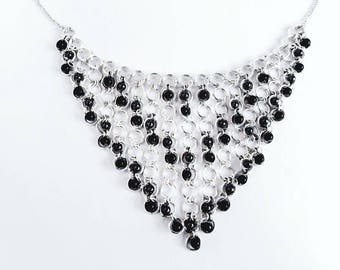 Handmade hematite chainmail Cascade necklace