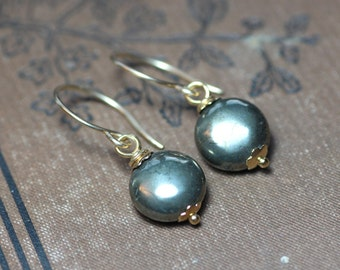 Pyrite Earrings Gold Wire Wrapped Bronze Gemstone Earrings 14k Gold Filled Earrings