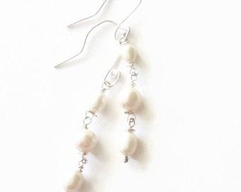 White Pearl 925 Silver Drop Dangle Earrings
