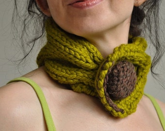 Designer hand knit chunky braided cable neckwarmer knitted collar choker neck cuff with huge button - Lemongrass Fantasy - Gift under 50
