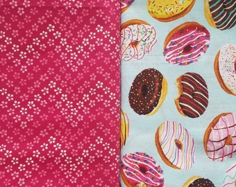 Donut Dog bandana, pink flower chevron, and donuts slide over the collar reversible