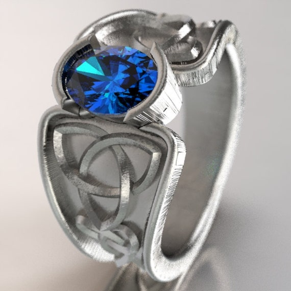 Celtic Blue Sapphire Ring With Trinity Knot Band Ring Design in Sterling Silver, Made in Your Size CR-17d