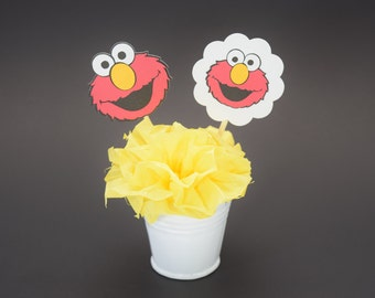 Elmo Topper, Elmo Birthday Topper, Elmo Decoration, Elmo Decor, Sesame Street, Personalized Elmo Topper, Elmo, Cupcake Topper