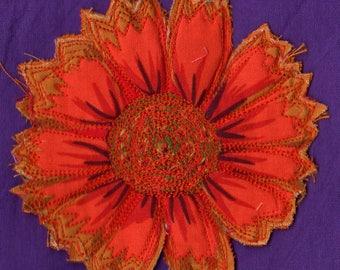 Printed fabric flower brooch orange CELIA