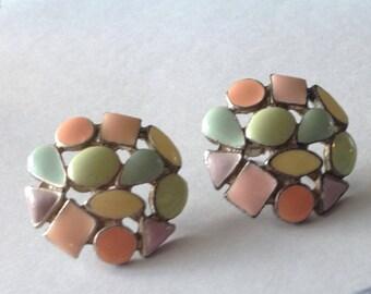 Mosaic enamel earrings. Multi-color pastels. Pierced.