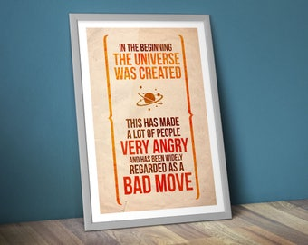 "Hitchhiker's Guide to the Galaxy Poster/Print [DL] - Douglas Adams Poster/Print - Bad Move - HHGTTG, CtrlAltGeek A2 & 18x24"", Download Copy"