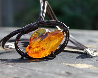 Orbital Necklace Amber Pendant Space Jewelry Free Form Zen Cosmic necklace Infinite Orbit gift for him